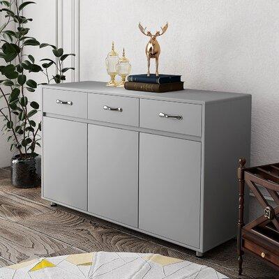 "Ebern Designs Errion 52.4"" Wide 3 Drawer Sideboard  Color: Gray"