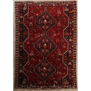 One-of-a-Kind Loehr Geometric Shiraz Persian Hand-Knotted 6'8 x 9'9 Wool Red/Black Area Rug ByIsabelline