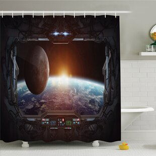 War Home Window View from Spaceship Station to Universe Celestial Discovery Fiction Shower Curtain Set