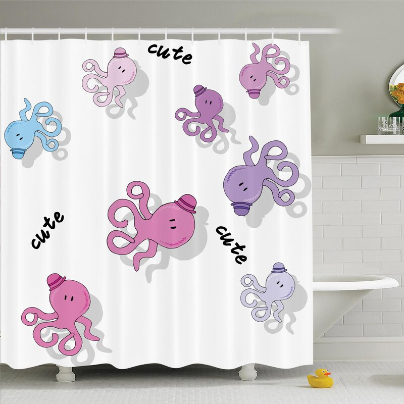 Kids Cute Cartoon Octopus Art Shower Curtain Set