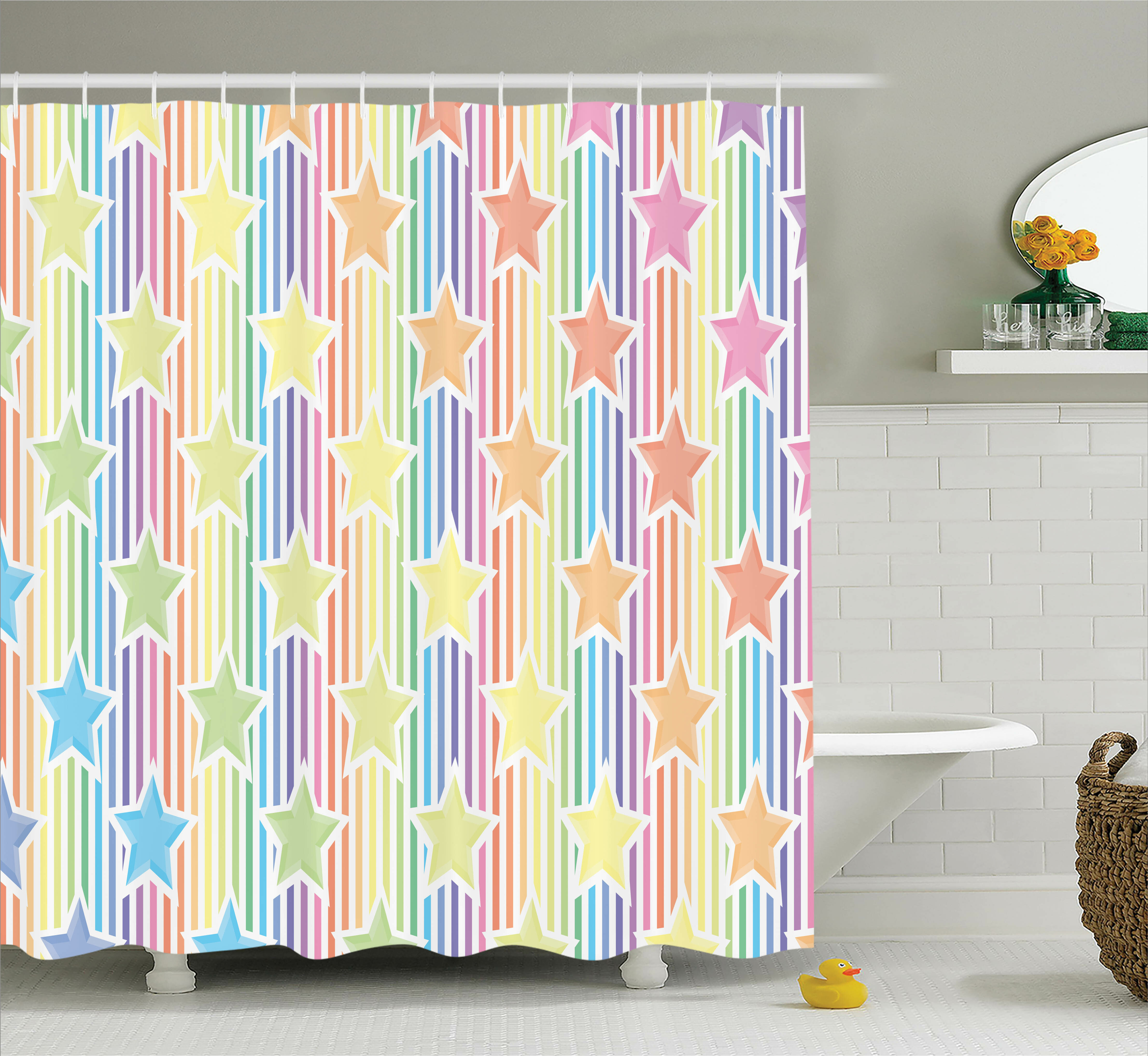 Terrific Brenda Rainbow Stars On Colorful Striped Fun Art Abstract Teen Room Playroom Concept Single Shower Curtain Download Free Architecture Designs Ogrambritishbridgeorg