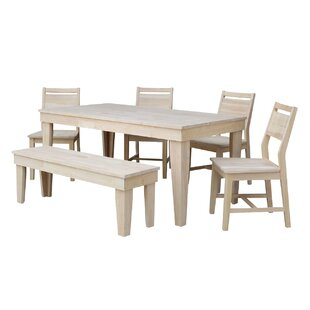 Theodosia Fixed Top 6 Piece Solid Wood Dining Set Highland Dunes