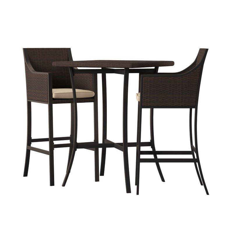 Alexa 3 Piece Bar Height Dining Set