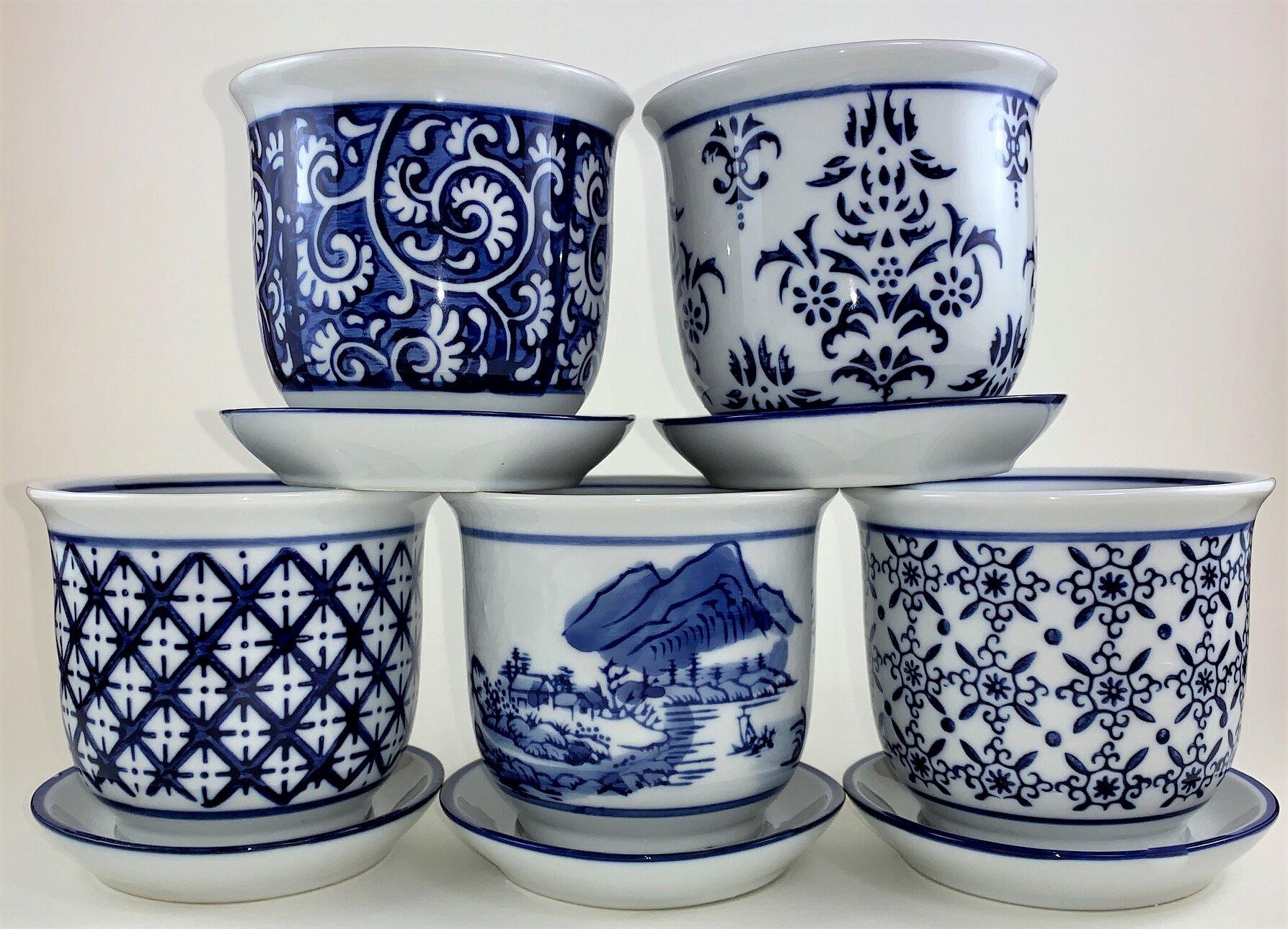 5 Piece Porcelain Pot Planter Set