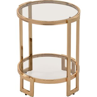 Ivy Bronx Jenny Glass and Metal End Table