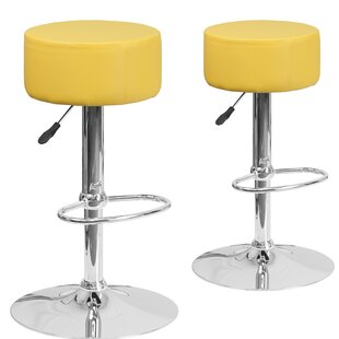 Orren Ellis Neary Adjustable Height Swivel Bar Stool (Set of 2)