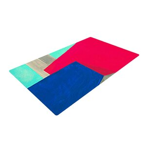 Oriana Cordero Corner Geometry Blue/Red Area Rug