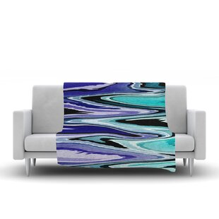 Inexpensive Nika Martinez Beach Waves Abstract Fleece Blanket By East Urban Home