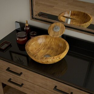Bamboo Circular Vessel Bathroom Sink with Faucet by MR Direct