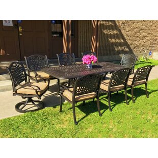 Campion 9 Piece Sunbrella Dining Set with Cushions