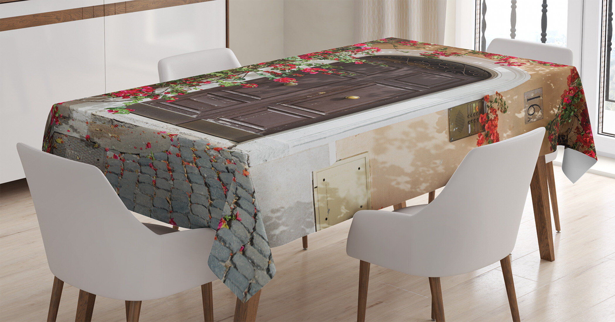 Ambesonne Moroccan Tablecloth Old Wooden Door Surrounded By Flowers European Meval Entrance Italy Rectangular Table Cover For Dining Room Kitchen