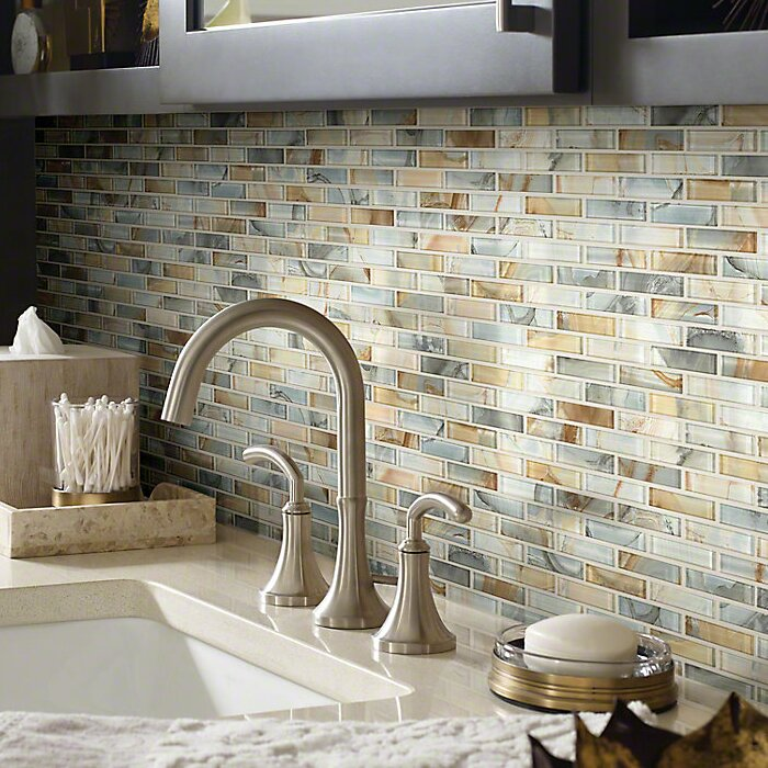 Shaw Floors Neptune 1 X 4 Glass Mosaic Tile In Gilt Reviews