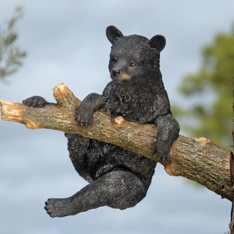 Up A Tree Climbing Bear Cub Statue