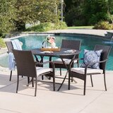 Hutsell Outdoor Wicker 5 Piece Dining Set with Cushions