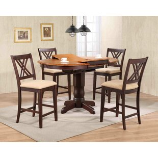Double X- Back Upholstered Counter Height 5 Piece Pub Table Set Iconic Furniture