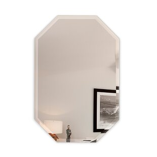 Octagon Frameless Wall Mirror with 3 Hooks ByFab Glass and Mirror
