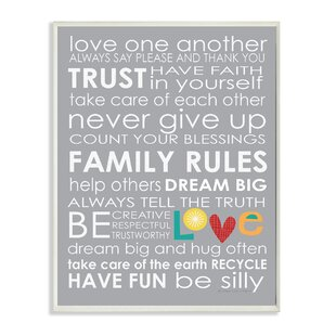 U0027Family Rulesu0027 Textual Art Wall Plaque
