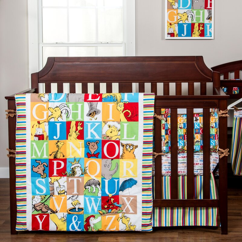 Dr Seuss Alphabet 3 Piece Crib Bedding Set