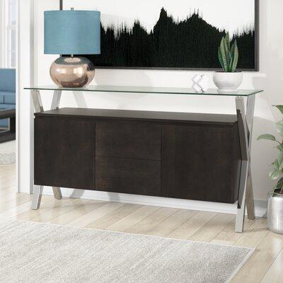 "AllModern Emiliano 63"" Wide 2 Drawer Sideboard  Color: Espresso/Silver"