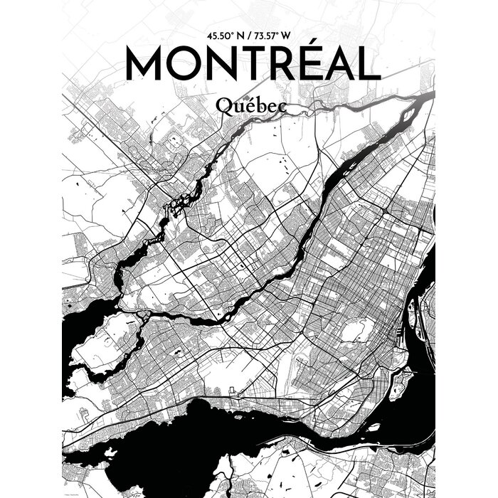 photo relating to Printable Map of Montreal known as Montreal Town Map Picture Artwork Print Poster inside Ink