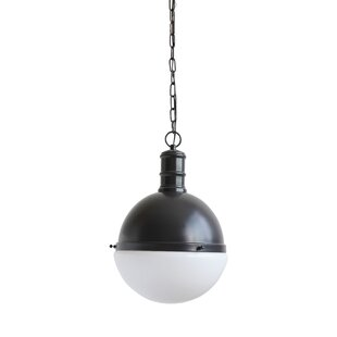Crump Metal and Glass 1-Light Pendant by Breakwater Bay