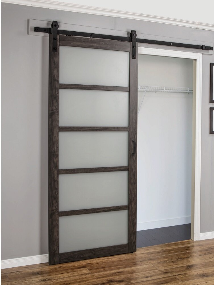 Erias Home Designs Continental Frosted Glass 1 Panel Ironage Laminate  Interior Barn Door U0026 Reviews | Wayfair