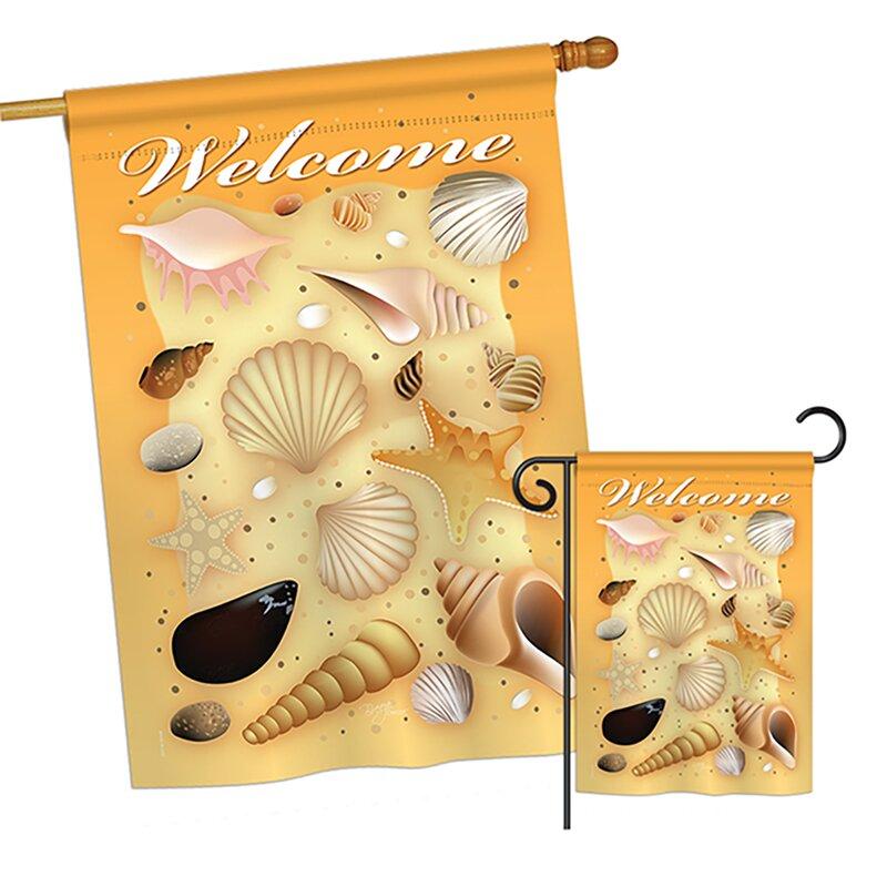 Breeze Decor 2 Piece Welcome Shells Summer Fun In The Sun Impressions Decorative Vertical 2 Sided Polyester Garden Flag Set Wayfair