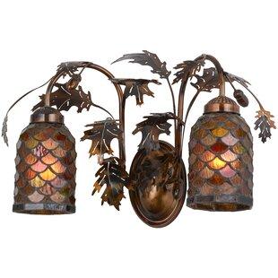Loon Peak Bonaberrie Oak Leaf and Acorn 2-Light Vanity Light