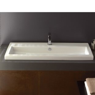 Reviews 40 Ceramic 48 Wall Mount Bathroom Sink with Overflow By Ceramica Tecla by Nameeks