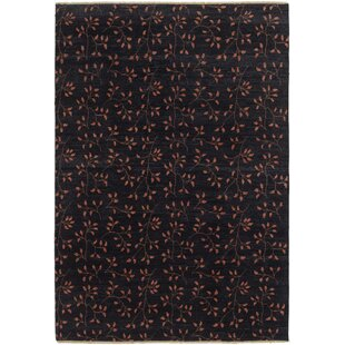 Order One-of-a-Kind Didcot Hand-Knotted 6'8 x 9'9 Wool Black Area Rug By Isabelline