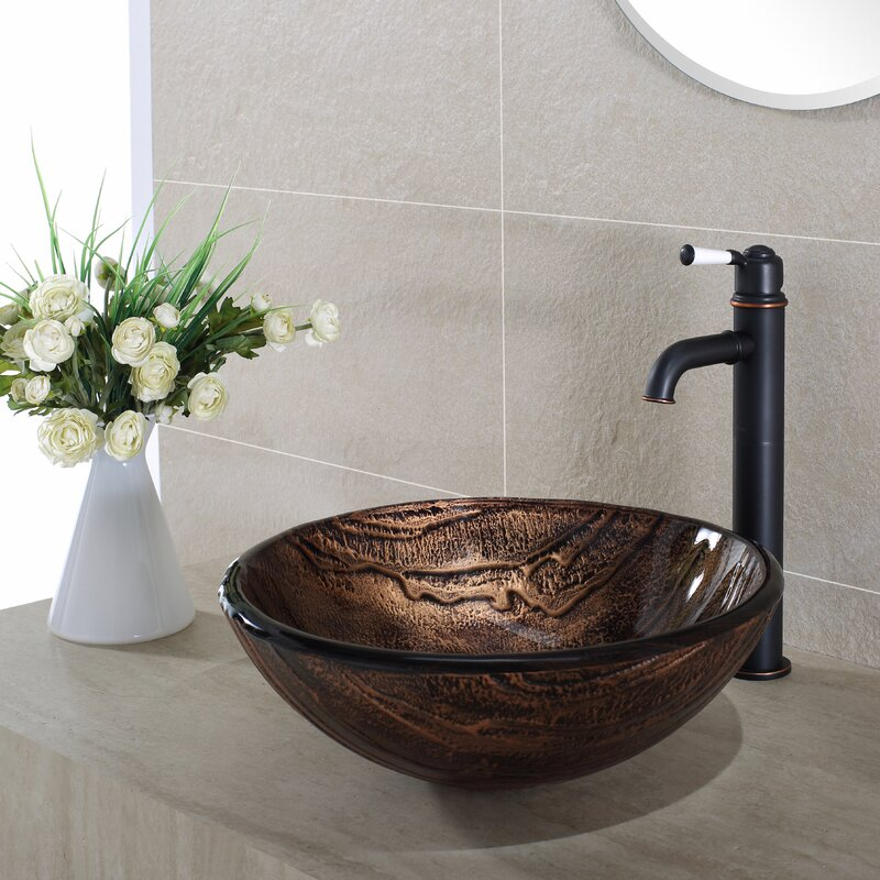 Kraus Gaia Glass Circular Vessel Bathroom Sink Reviews Wayfair