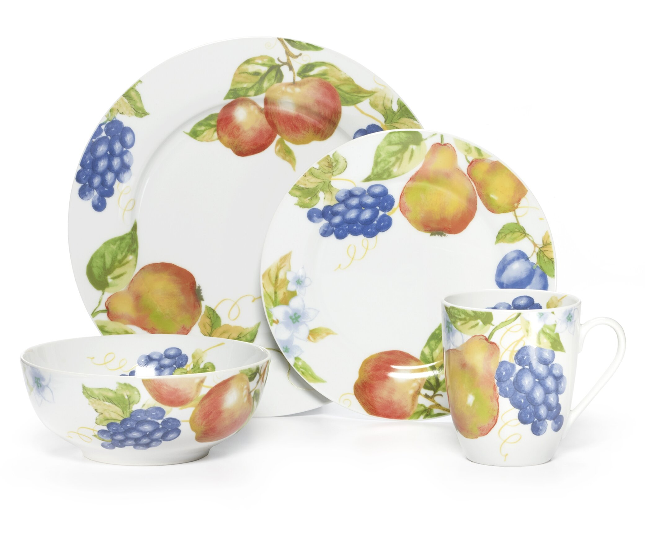 Pfaltzgraff Everyday Orchard 16 Piece Dinnerware Set, Service for 4 ...