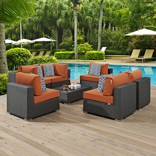 Tripp 7 Piece Rattan Sunbrella Sectional Set with Cushions by Brayden Studio