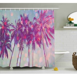 Affordable Michael Nature Palm Trees Hawaiian Tropic Seashore Beach Californian Miami Sunbeams Image Shower Curtain By Ivy Bronx