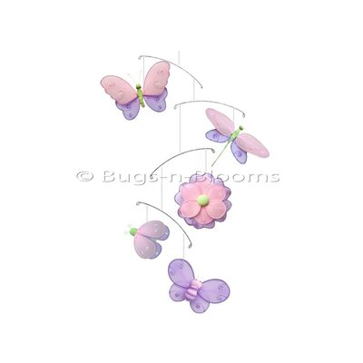 Butterfly Dragonfly Ladybug Nylon Flower Bee Mobile Bugs-n-Blooms Color: Pink/ Purple/Green