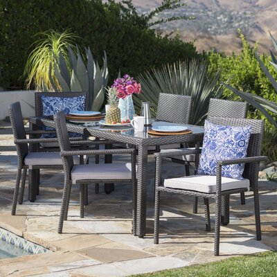 Carlena Outdoor 7 Piece Dining Set With Cushions by Ivy Bronx Great Reviews
