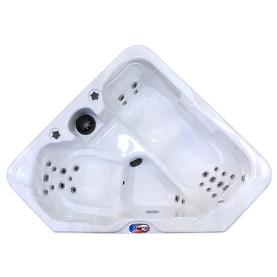 American Spas 2-Person 28-Jet Plug and Play Hot Tub with Multi Colour Hot Tub Light Finish: Smoke/Silver