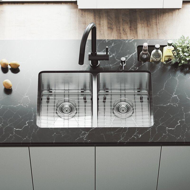 29 Inch Undermount 50 Double Bowl 16 Gauge Stainless Steel Kitchen Sink With Gramercy