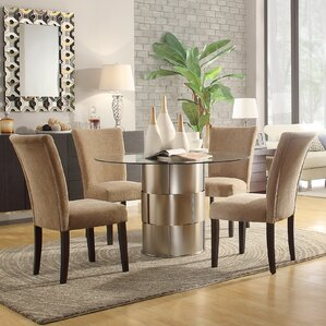 Cliburn 5 Piece Dining Set In Light Brown Upholstery