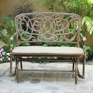 Astoria Grand Trisara Aluminum Glider Bench with Cushion