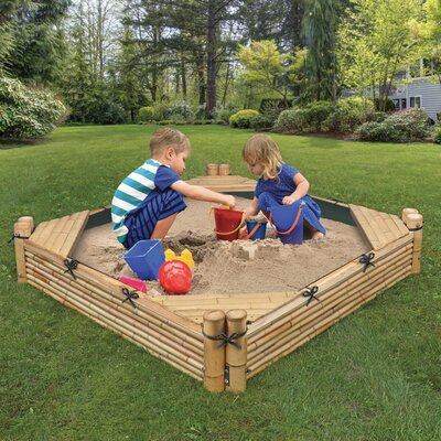 Bamboo Beach 4.6' Square Sandbox with Cover Badger Basket