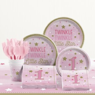 81 Piece One Little Star Girl 1st Birthday Plastic/Paper Tableware Set