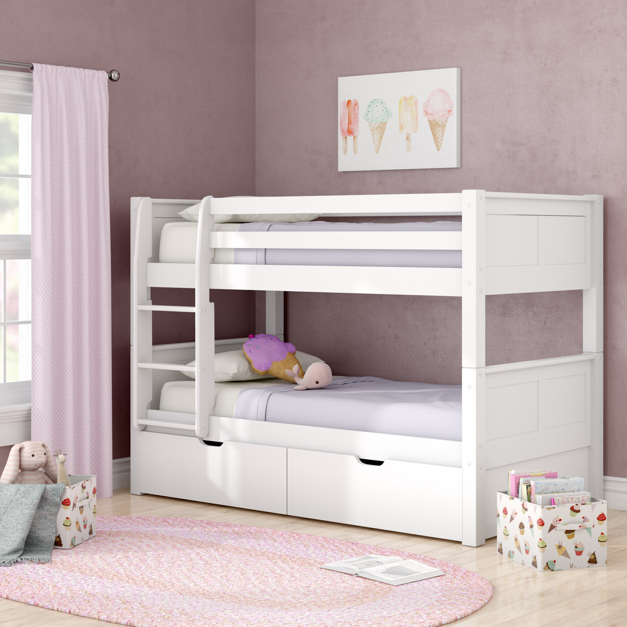 Picture of: Viv Rae Isabelle Twin Over Twin Bunk Bed With Storage Reviews