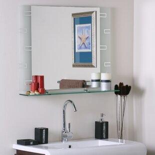 Wyona Frameless Wall Mirror With Shelf