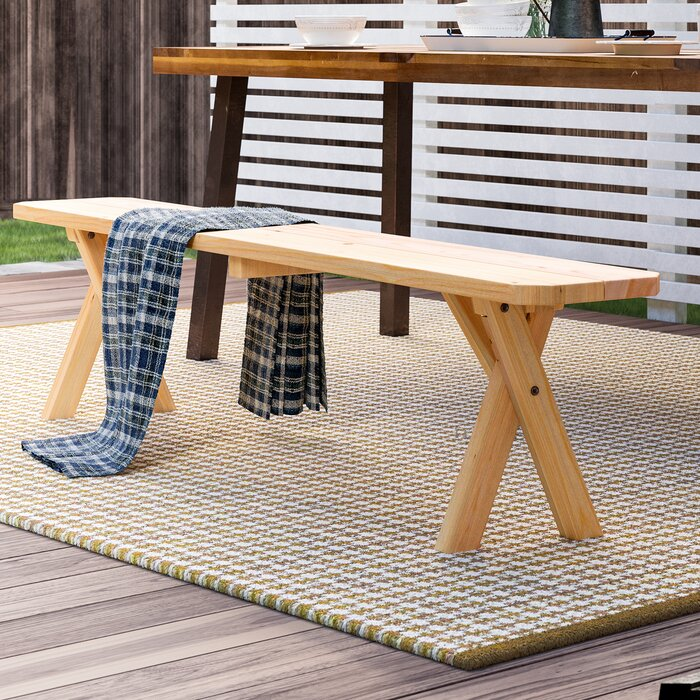 August Grove Kennicott Crossleg Wooden Picnic Bench