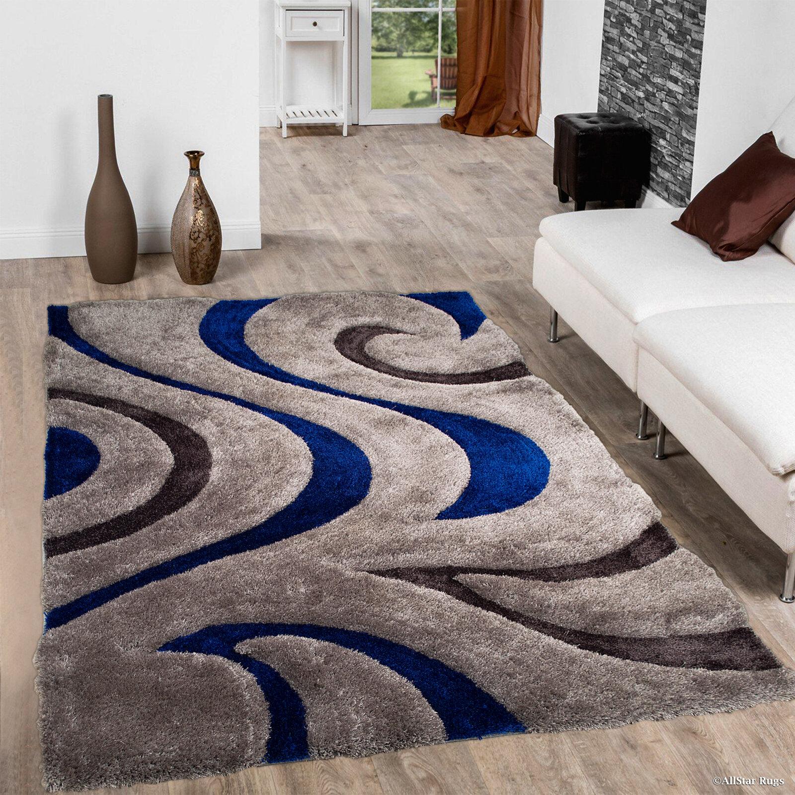 Latitude Run Kasper Soft 3d Swirl Blue Area Rug Reviews Wayfair
