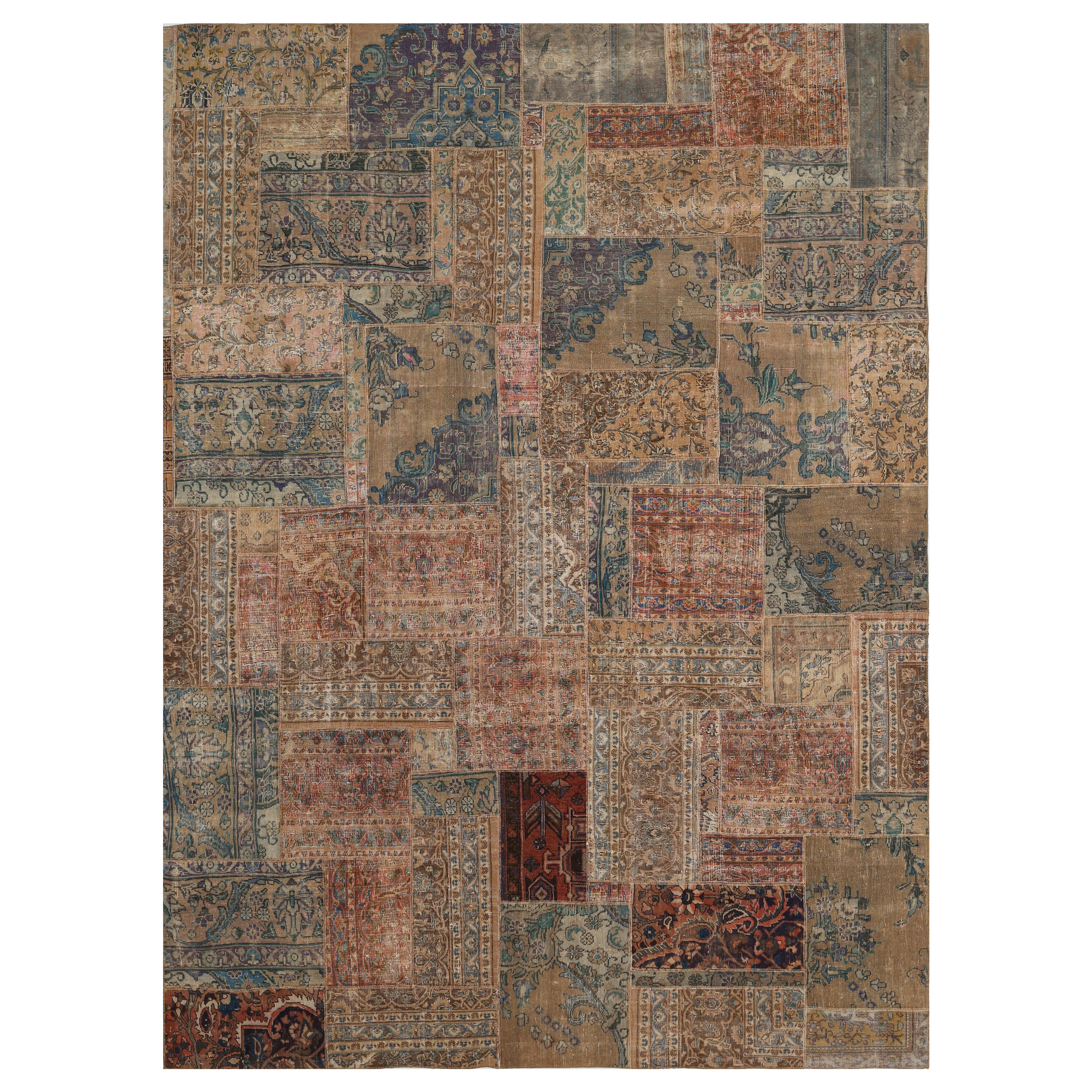 Herat Oriental One Of A Kind Patchwork Hand Knotted Wool Beige Brown Area Rug Wayfair
