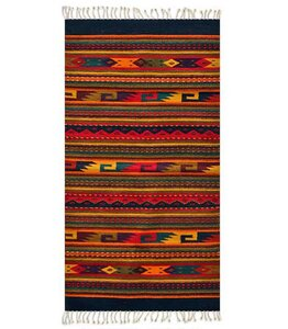 Artisan Crafted Multicolor Fiesta Hand Woven Mexican Naturally Dyed Wool Home Decor Area Rug