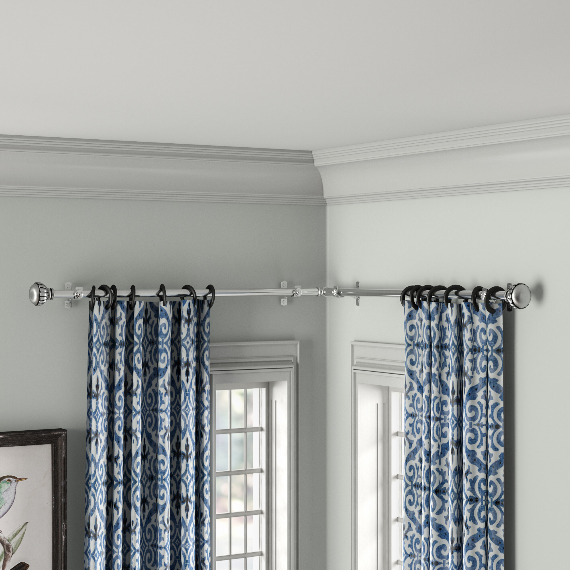 Darby Home Co Jarne Corner Window Single Curtain Rod Reviews Wayfair
