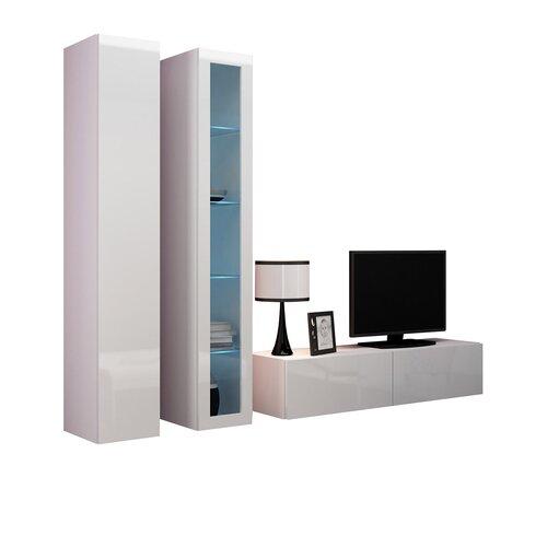 Wohnwand Victoria für TVs bis zu 60 Perspections Mit eingebauter Beleuchtung: Blaue LED Beleuchtung   Wohnzimmer > Schränke > Wohnwände   Perspections